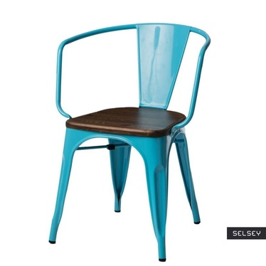 Krzesło Paris Arms Wood niebieskie - orzech
