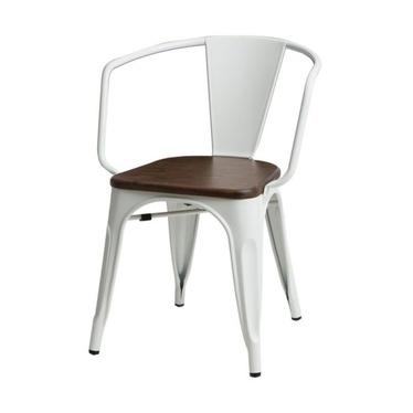 Krzesło Paris Arms Wood białe - orzech