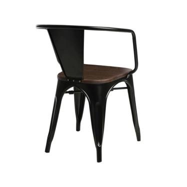 Krzesło Paris Arms Wood czarne - orzech