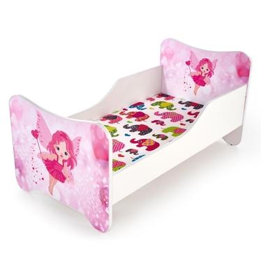 Łóżko Laylla rożowo-białe z wysuwaną szufladą