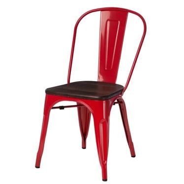 Krzesło Paris Wood czerwone - sosna szczotkowana