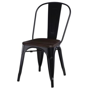 Krzesło Paris Wood czarne - sosna szczotkowana