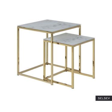 Zestaw stolików kawowych Alisma  50x45 cm i  40x35 cm - złota podstawa