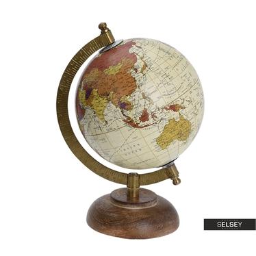 Globus kremowy średnica 13 cm na drewnianej podstawie