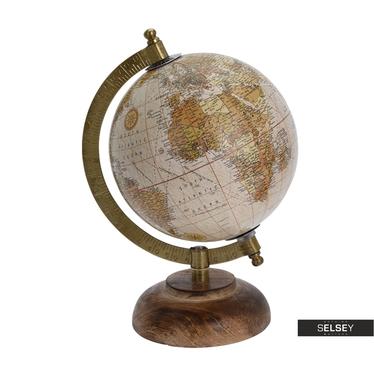 Globus pudrowy średnica 13 cm na drewnianej podstawie