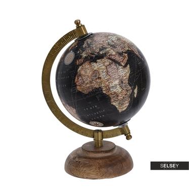 Globus czarny średnica 13 cm na drewnianej podstawie