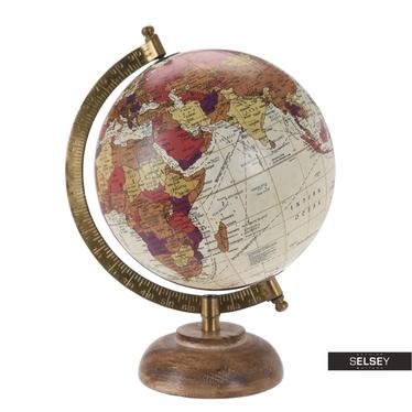 Globus kremowy średnica 16 cm na drewnianej podstawie