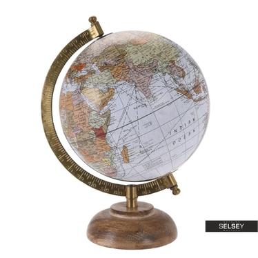 Globus siwy średnica 16 cm na drewnianej podstawie