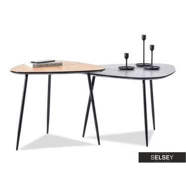 Zestaw stolików kawowych Rosin 68x65 cm beton - czarny i 59x56 cm dąb - czarny