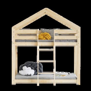 Łóżko piętrowe Dalida domek z drabinką z przodu