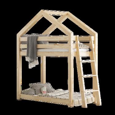 Łóżko piętrowe Dalida domek z drabinką z boku