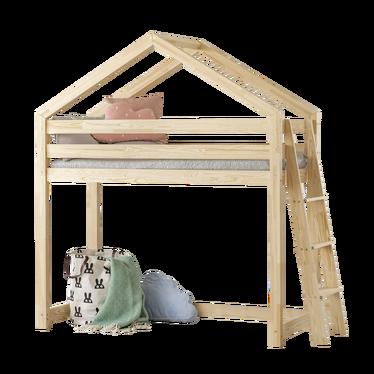 Łóżko Dalida domek z antresolą z drabinką z boku