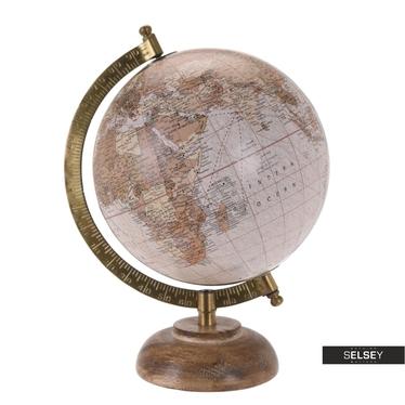 Globus pudrowy średnica 16 cm na drewnianej podstawie