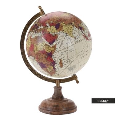 Globus kremowy średnica 20 cm na drewnianej podstawie