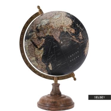 Globus czarny średnica 20 cm na drewnianej podstawie