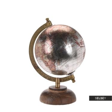 Globus srebrny średnica 13 cm na drewnianej podstawie