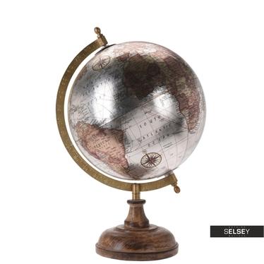 Globus srebrny średnica 20 cm na drewnianej podstawie