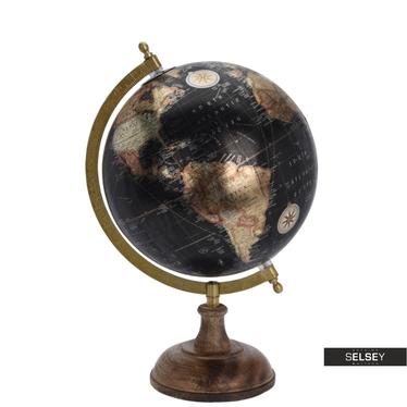 Globus czarny metaliczny średnica 20 cm na drewnianej podstawie