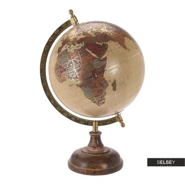 Globus kremowy ze złotymi elementami średnica 20 cm na drewnianej podstawie