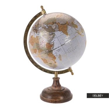Globus siwy ze złotymi elementami średnica 20 cm na drewnianej podstawie