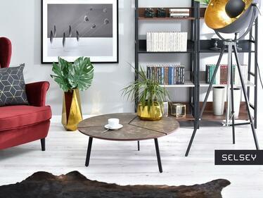Stolik kawowy Fjord średnica 86 cm brązowy marmur
