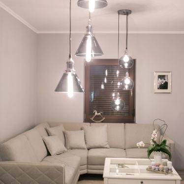 Lampa wisząca Sierrita II chrom z transparentnymi kloszami