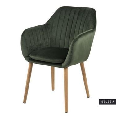 Krzesło Emilia Velvet zielone tapicerowane