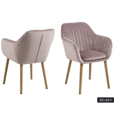 Krzesło Emilia Velvet pastelowy róż tapicerowane