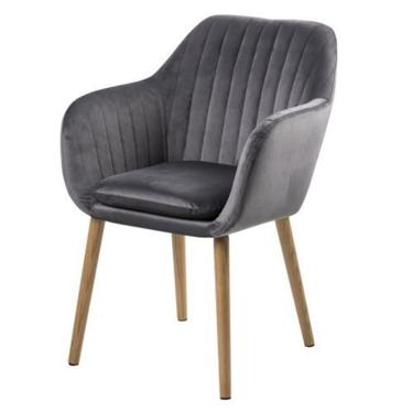 Krzesło Emilia Velvet szare tapicerowane