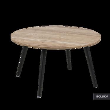 Stolik kawowy Reigns średnica 80 cm z czarnymi nogami