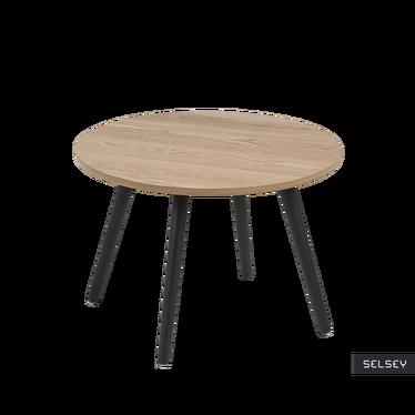 Stolik kawowy Reigns średnica 50 cm z czarnymi nogami