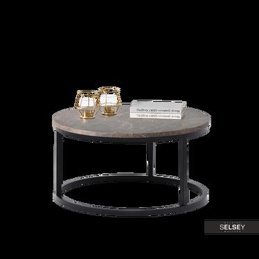 Stolik kawowy Kodia średnica 60 cm brązowy marmur - czarny