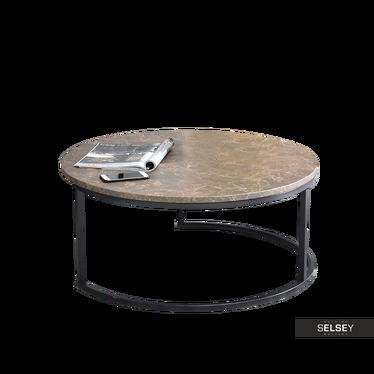 Stolik kawowy Kodia średnica 80 cm brązowy marmur - czarny