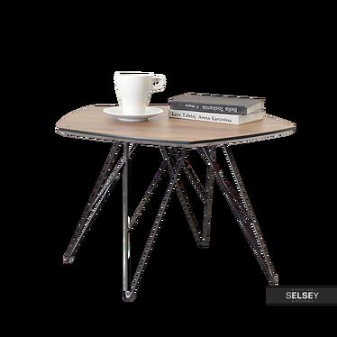 Stolik kawowy Penta 57x56 cm orzech-czarny na metalowych nogach