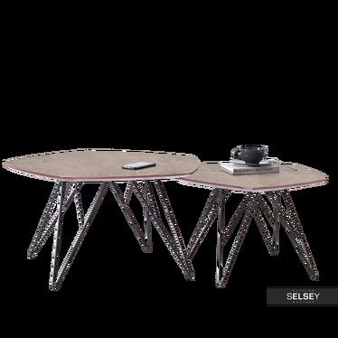 Zestaw stolików kawowych Penta brązowy marmur - czarny 76x75 cm i 57x56 cm