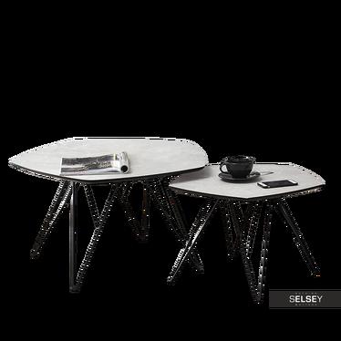 Zestaw stolików kawowych Penta szary marmur - czarny 76x75 cm i 57x56 cm