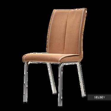 Krzesło Belgio jasnobrązowa ekoskóra