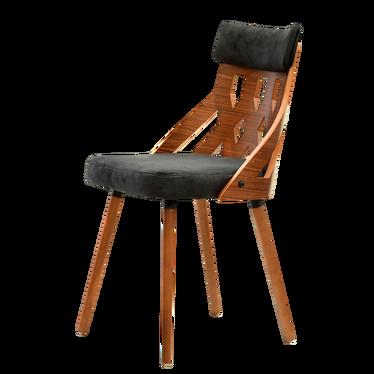 Krzesło Crabi czarny-orzech z ażurowym oparciem z fornirowanej sklejki