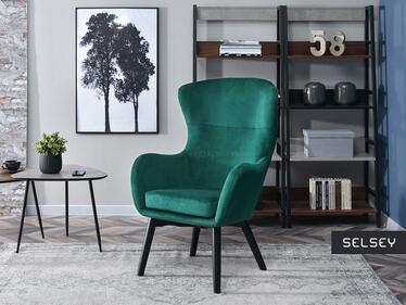 Fotel Leta zielony na czarnych nogach velvet aqua