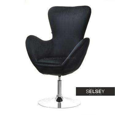 Fotel obrotowy Jacob czarny - chrom uszak velvet