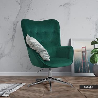 Fotel obrotowy Trini zielony - chrom pikowany velvet