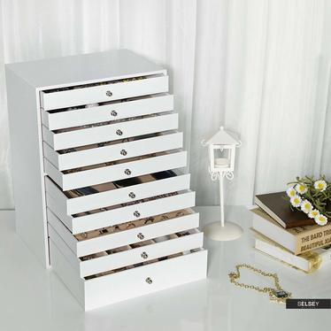 Szkatułka na biżuterię Quartz biała na zegarki, pierścionki i kolczyki 10 szuflad