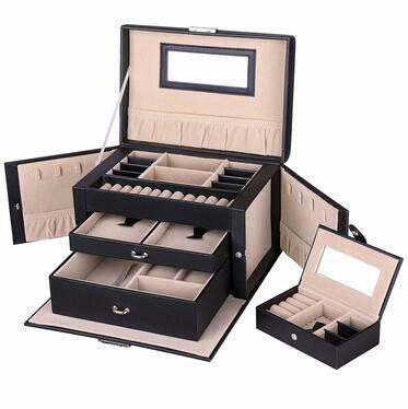 Szkatułka na biżuterię Quartz czarny kuferek na zegarki, pierścionki i kolczyki