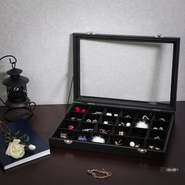 Szkatułka na biżuterię Quartz czarna gablotka na kolczyki i broszki