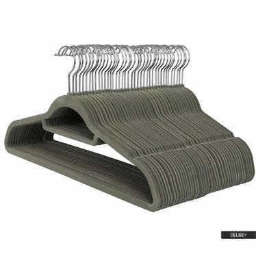 Wieszaki na ubrania Mose 50 sztuk khaki antypoślizgowe z obrotowym haczykiem