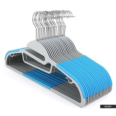 Wieszaki na ubrania Mose 20 sztuk szaro-niebieskie antypoślizgowe z obrotowym haczykiem i miejscem na krawaty