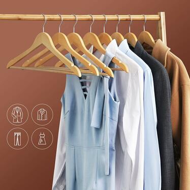 Wieszaki na ubrania Maple 10 sztuk z obrotowym haczykiem i profilowaniem