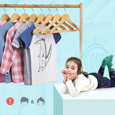 Wieszaki na ubrania Kids 20 sztuk z obrotowym haczykiem na odzież dziecięcą