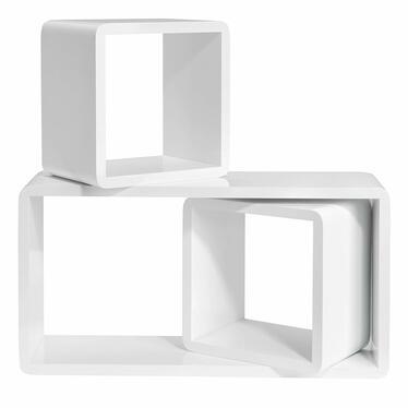 Zestaw trzech półek Kaliopsi białe kwadraty i prostokąt o zaokrąglonych rogach