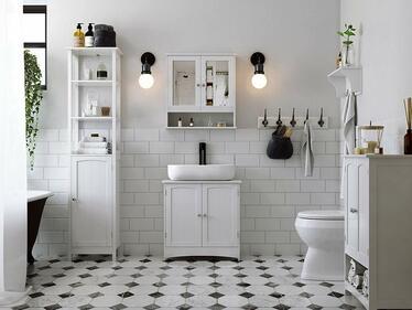 Szafka łazienkowa Wlens 56 cm wisząca z lustrem w stylu rustykalnym